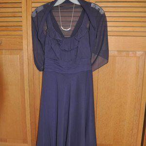 David Bridal Crinkle Chiffon Dress & Shoulder Wrap